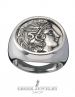 Goddess Athena coin ring in Silver