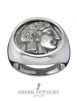 Greek Goddess Athena silver chevalier coin ring from greekjewelryshop.com