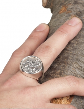 Male hand wearing large silver pegasus ring from Greece