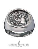 1127 Herakles/Hercules Alexander the Great lifetime chevalier coin ring (XL)