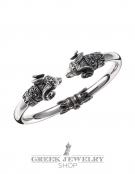 237/B Silver Ram Torc Bracelet