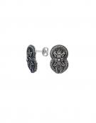 1265 Large Hercules-knot/Gordian knot sterling silver earrings