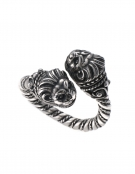 38/S Hand-coiled Silver Double Headed Lion Torc Ring
