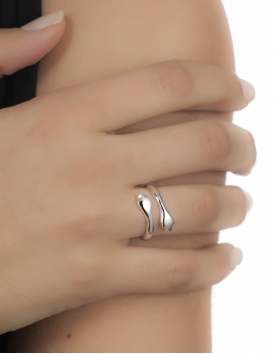 Double headed snake silver ring