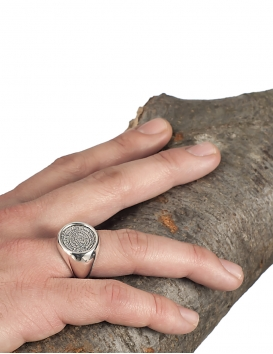 Large chevalier coin ring with faistos disk