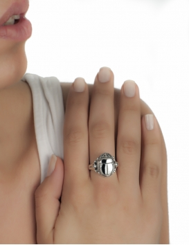 greek silver ring with scarab