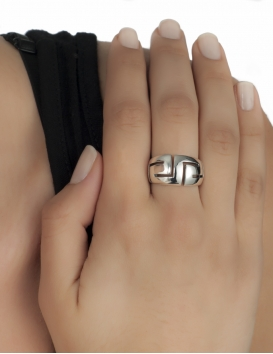Meander greek silver ring