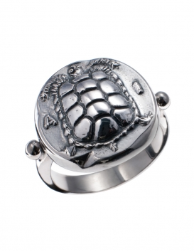 1087 Aegina Land Tortoise Silver Band Ring