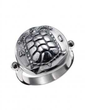 1087 Aegina Land Tortoise Silver Band Ring