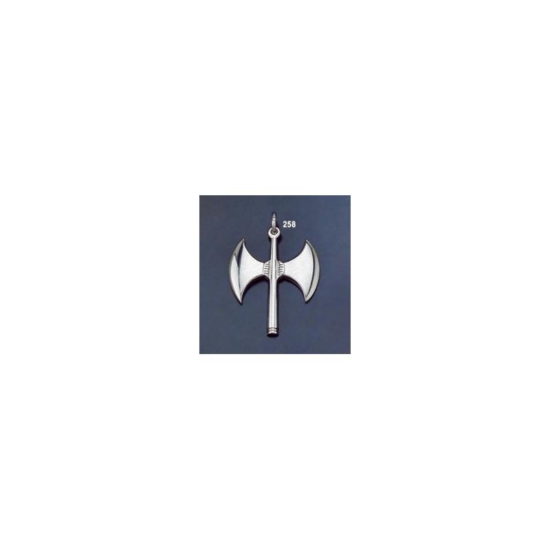 Double Axe Ornamental Minoan Sterling Silver Sacrificail Pendant