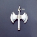 259 Sterling Silver Minoan Double Headed Axe Pendant (L)