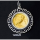 1206/E Large Owl Of Wisdom Coin Pendant with Greek Key Pattern