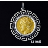 1210/E Large Chalkidian League God Apollo Coin Pendant with Greek Key Pattern ( Gold Plated)