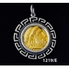 1219/E Large Phillip II Macedon Depicting Zeus Coin Pendant with Greek Key Pattern ( Gold Plated)