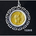 1220/E Large Syracuse Arethousa Coin Pendant with Greek Key Pattern ( Gold Plated)