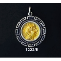 1222/E Medium Goddess Athena Coin Pendant with Greek Key Pattern (Gold Plated)
