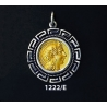 1222/E Medium Goddess Athena Coin Pendant with Greek Key Pattern (Gold Plated)