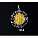 1223/E Medium Helmetted Athena Coin Pendant with Greek Key Pattern (Gold Plated)