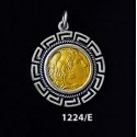 1224/E Alexander The Great (Hercules) Coin Pendant with Greek Key Pattern (Gold Plated)