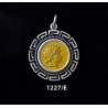 1227/E Medium Chalkidian League God Apollo Coin Pendant with Greek Key Pattern (Gold Plated)
