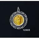 1230/E Medium Rhodes Island- Helios Ancient Sun God Coin Pendant with Greek Key Pattern (Gold Plated)