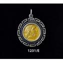 1231/E Medium Phillip II Macedon Depicting Zeus Coin Pendant with Greek Key Pattern (Gold Plated)