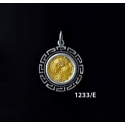 1233/E Small Goddess Athena Coin Pendant with Greek Key Pattern (Gold Plated)