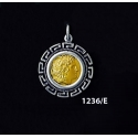 1236/E Small Alexander The Great (Lysimachos) Coin Pendant with Greek Key Pattern (Gold Plated)