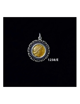 1238/E Small Chalkidian League God Apollo Coin Pendant with Greek Key Pattern (Gold Plated)