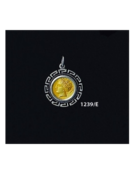 1239/E Small Syracuse Arethousa/Artemis/Persephone Coin Pendant with Greek Key Pattern (Gold Plated)