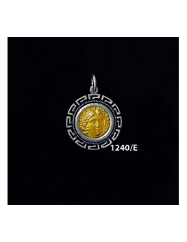 1240/E Small Rhodes Island- Helios Ancient Sun God Coin Pendant with Greek Key Pattern (Gold Plated)