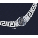 1162 Greek Key/Meander Necklace With Owl Of Wisdom Coin (L)