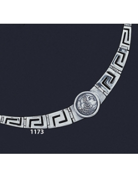 1173 Greek Key/Meander Necklace With Alexander the Great Coin (M)