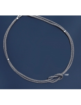 1197 Hand-Braided Silver Necklace with Hercules-knot