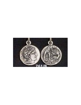 761/B Athena & Herakles/Hercules silver Diobol pendant