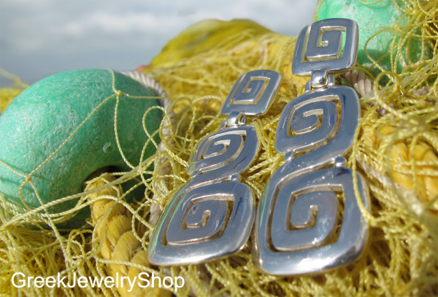 greek key meander earrings with minimalist ancient greek archetype jewellery design