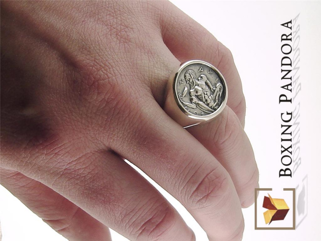 bacchus dionysus ancient coin reproduction ring