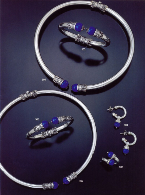 Ancient Grek Jewelry by Greek Jewelry Shop. Sterling silver torc necklace, bracelet, cuff, ring and earrings with lapis lazuli. Lapis jewelry from Greece