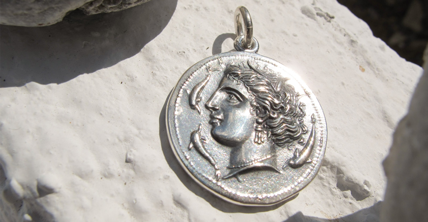 Ancient Syracuse coin pendant reproduction in sterling silver (Greek Jewelry Shop) museum coin replica