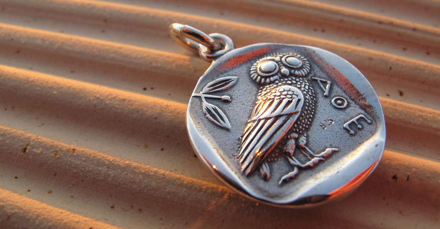 Silver historic coin pendants, precious silver coin pendants, The owl of Wisdom