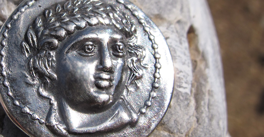 God Apollo coin from Amphipolis Greece