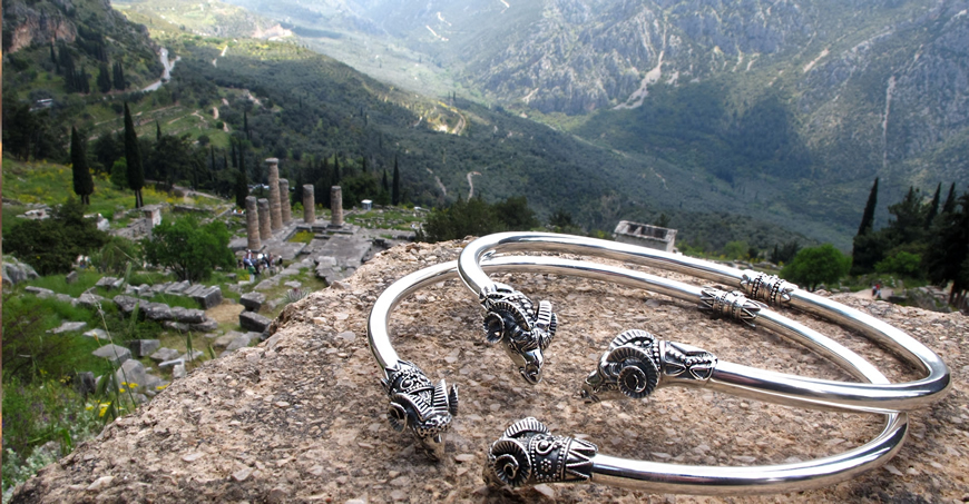 Ram Necklaces, Greek necklaces from sterling silver. Ancient Greek and Roman torcs. Shot in Delphi