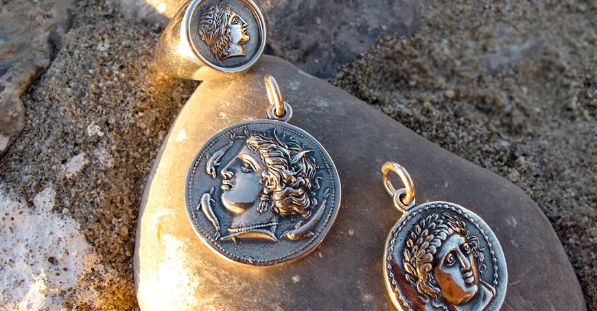 Greek coin pendants, medallion jewellery from silver. Collectible