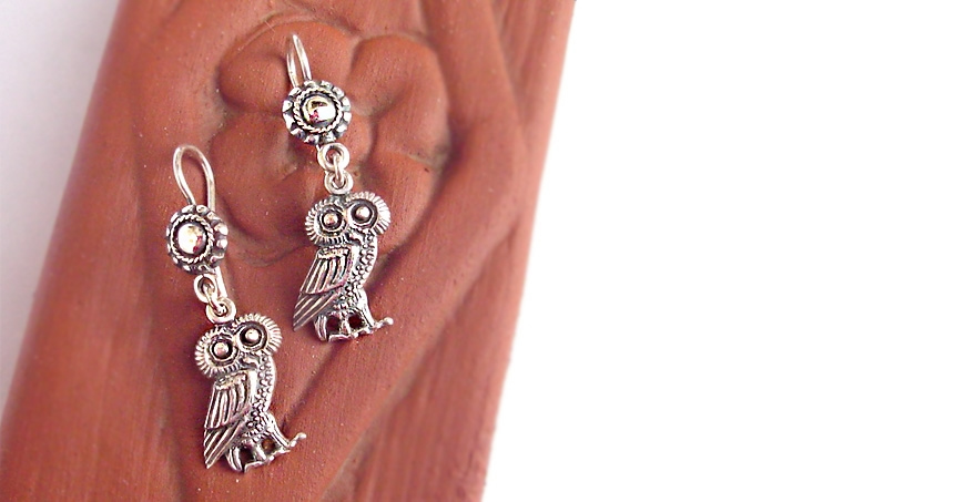 Owl of wisdom silver dangling Greek earrings