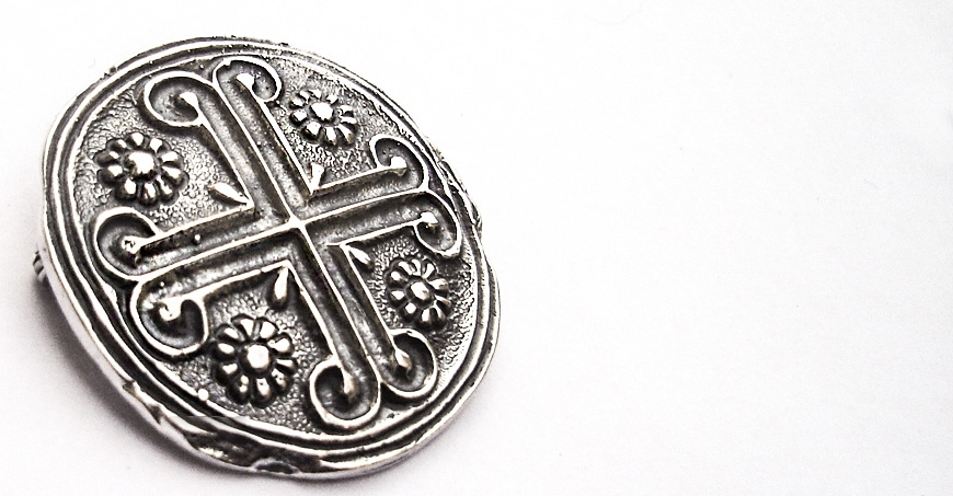 Byzantine Knights Templar Cross brooch from sterling silver
